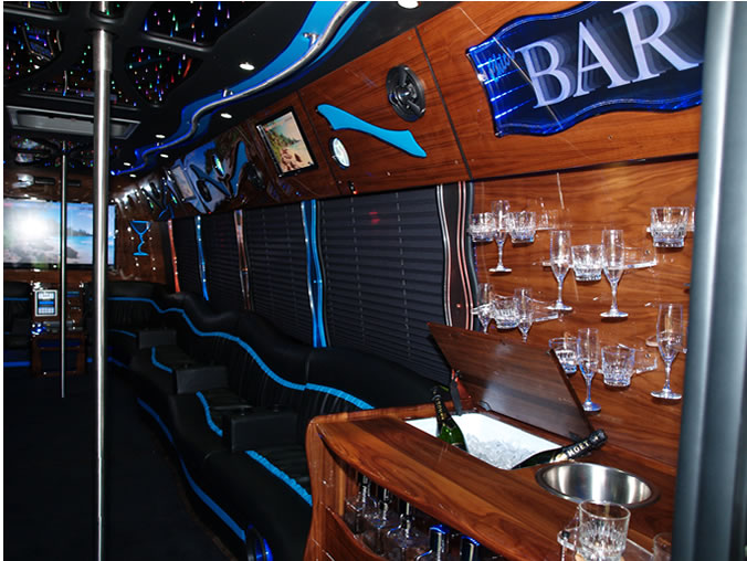 full bar inside party bus for guests