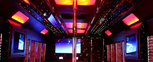 party bus interior seating and lights